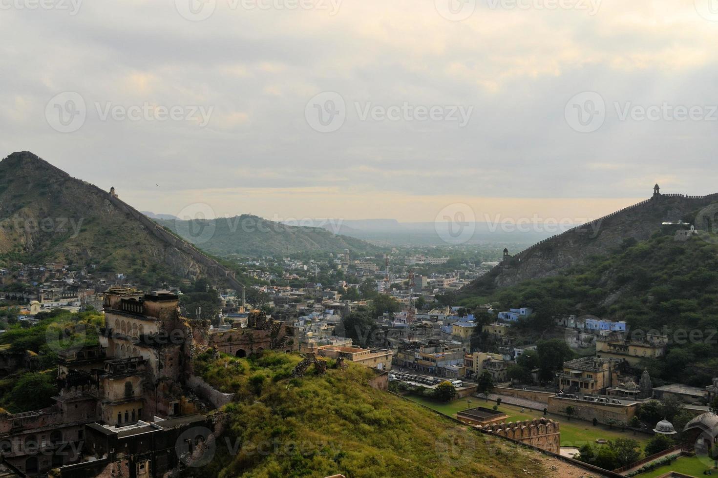 Great wall around Amber fort Jaipur, Rajasthan, India photo