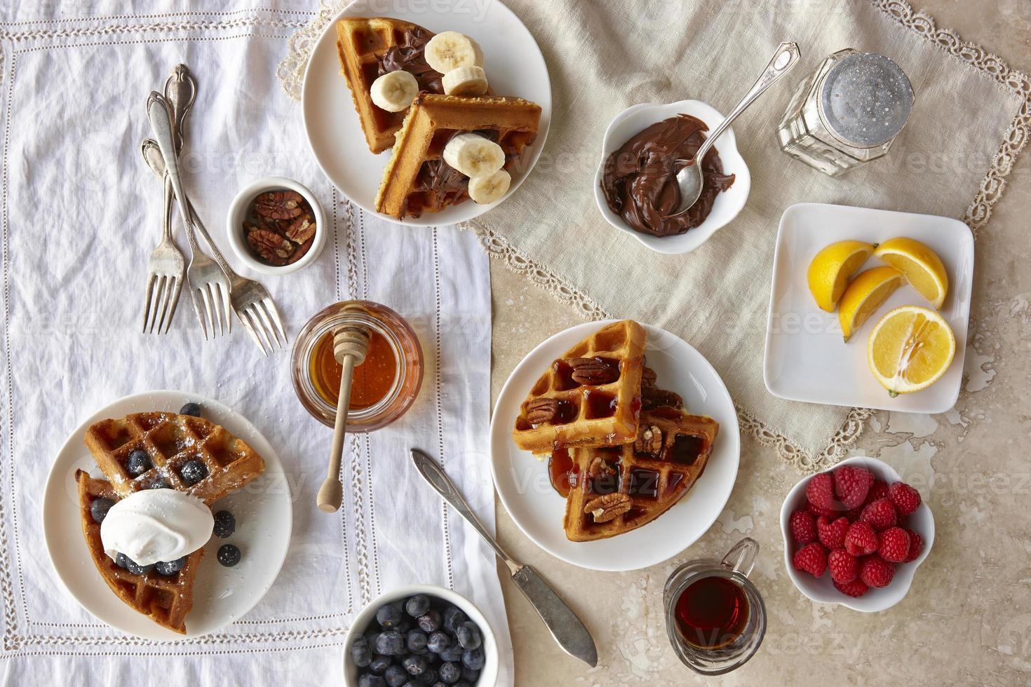 desayuno de gofres foto