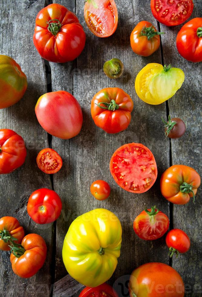 assorted tomatoes on wooden surface photo
