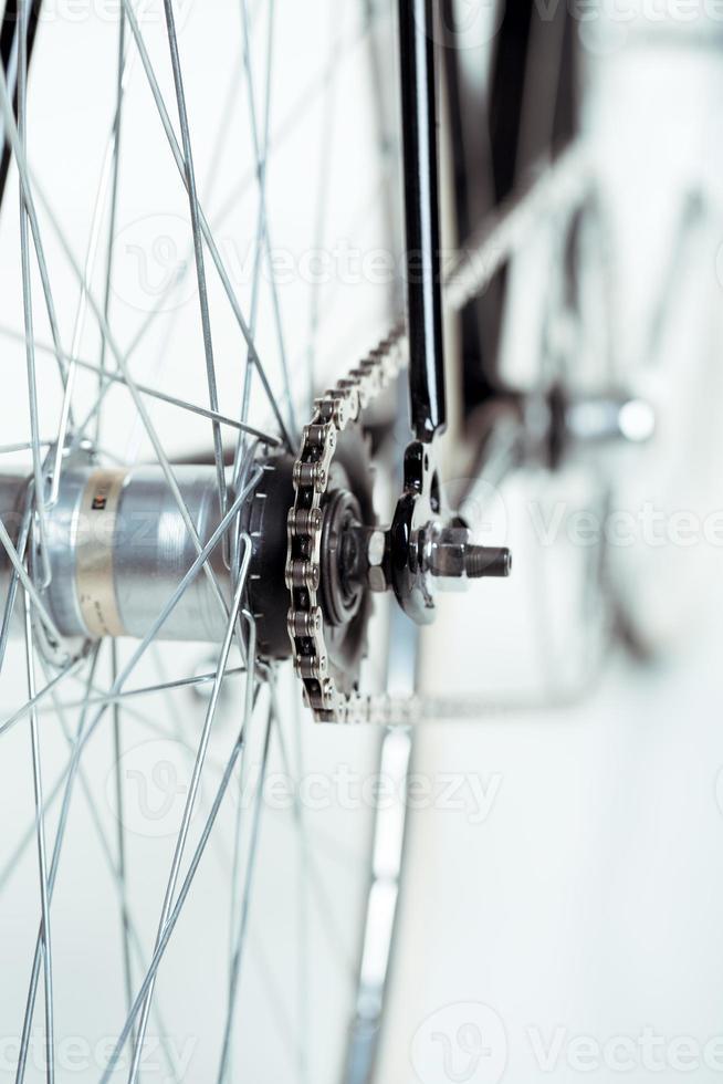Stylish bicycle isolated on white photo