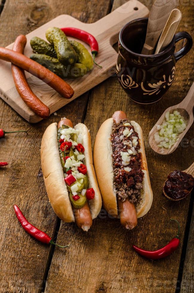 Chilli and vegetarian hot dog photo