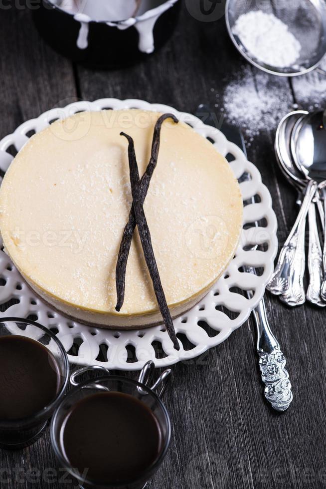 Tarta de queso de vainilla casera de Nueva York foto