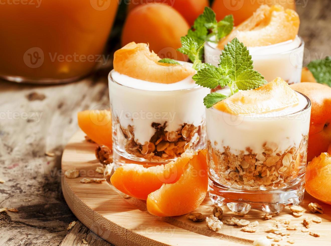 Homemade granola with yogurt and apricot photo