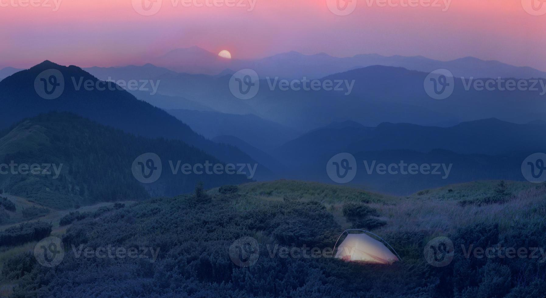 moonrise in  foothills of the Alps photo