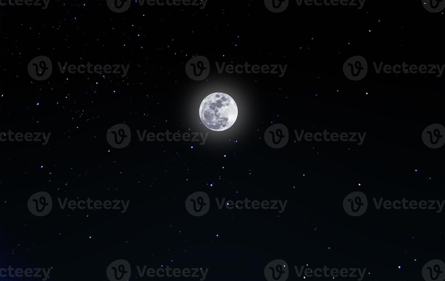 full moon on night sky with starry photo