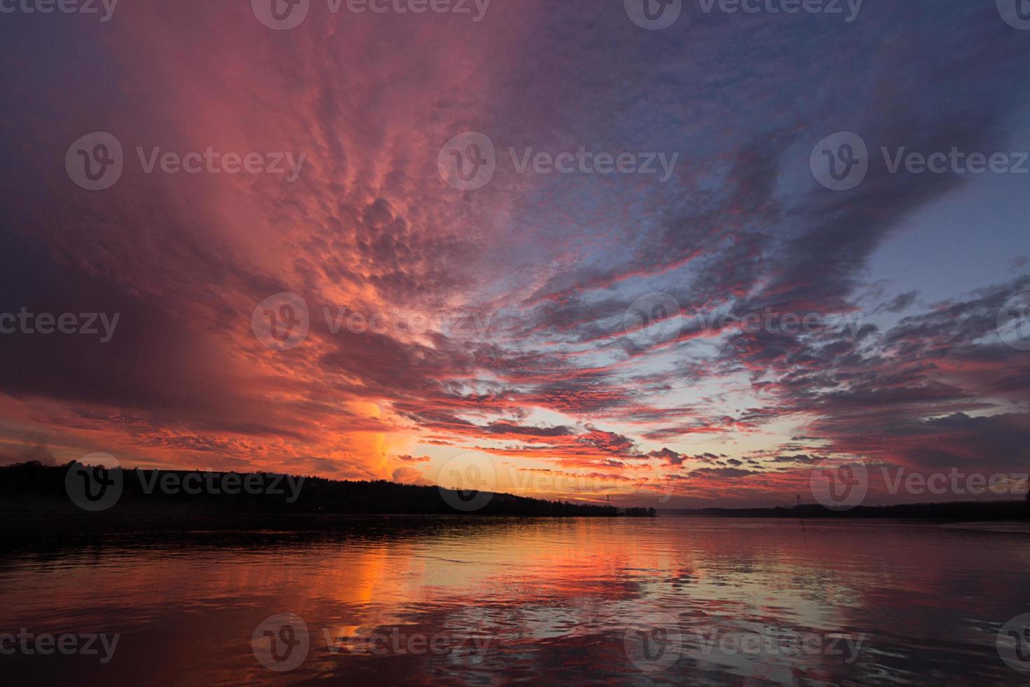 Sunset sky reflection photo