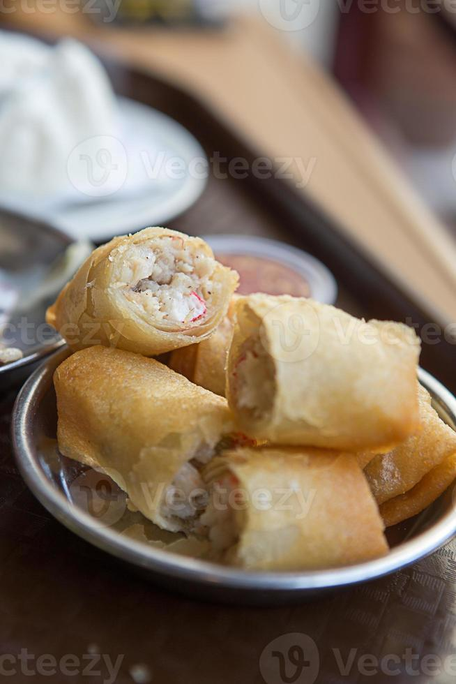 crispy meat crab spring rolls photo