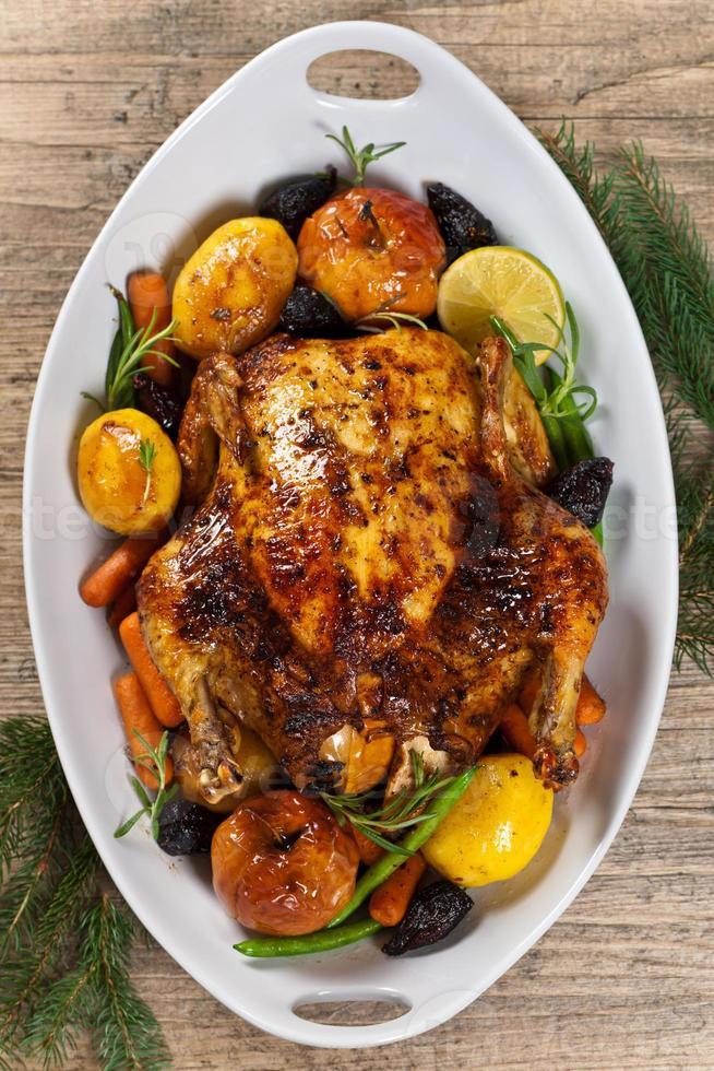 Baked chicken for Christmas dinner photo