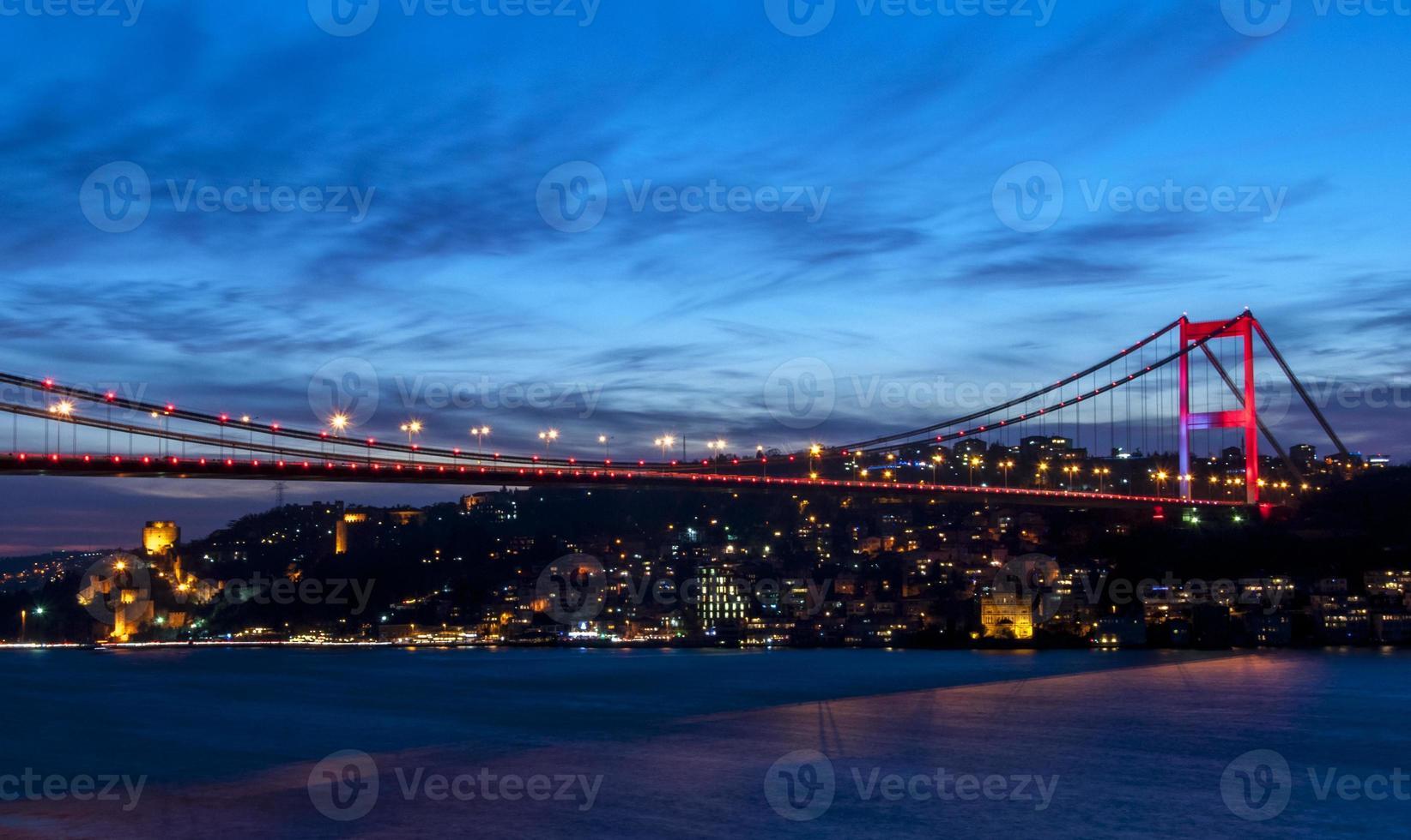 Fatih Sultan Mehmet Bridge at night Istanbul / Turkey. photo