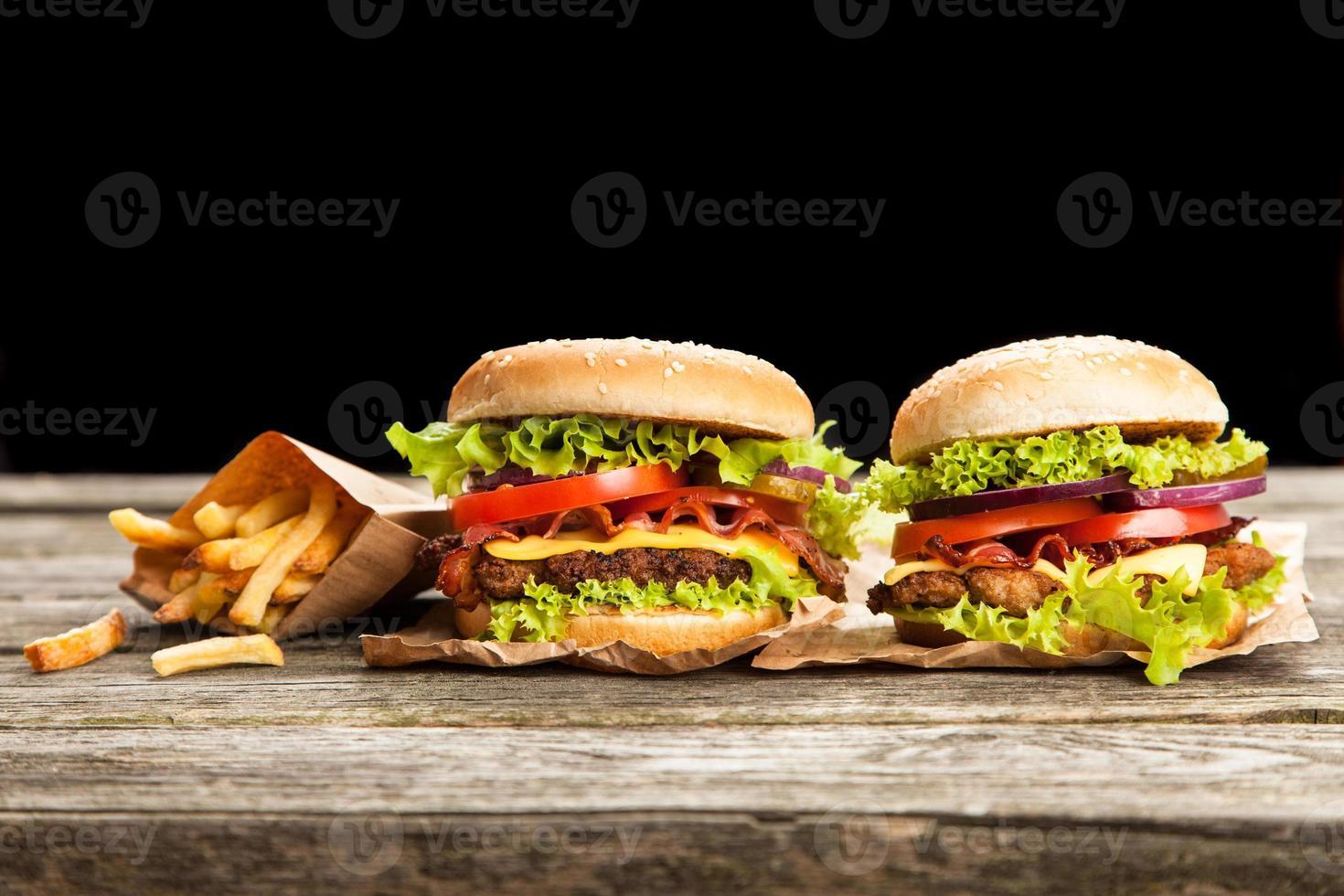 Delicious hamburger and fries photo