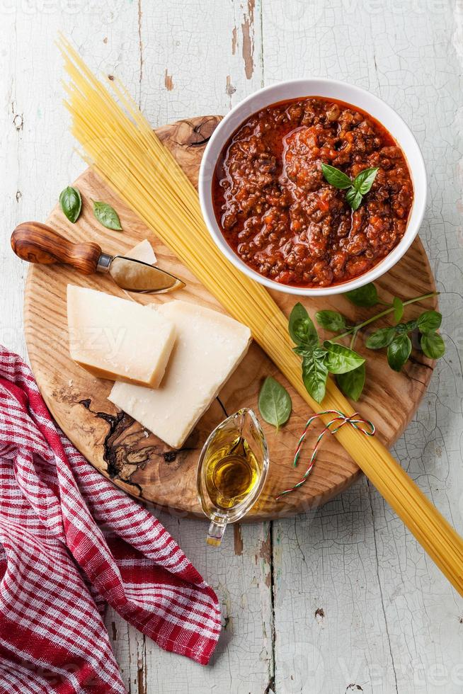Ingredients for spaghetti bolognese photo