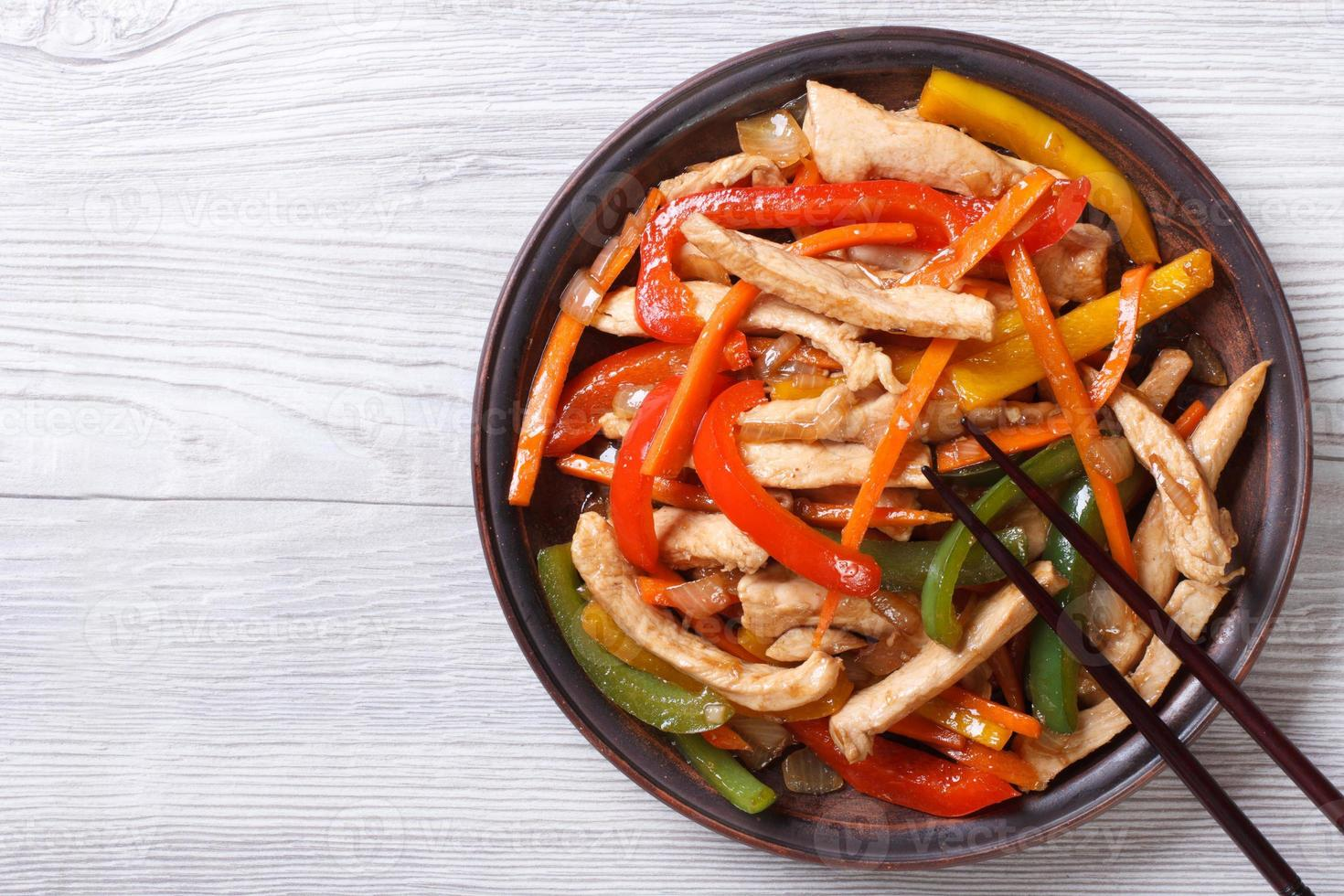 Asian food: chicken in sweet and sour sauce with vegetables photo