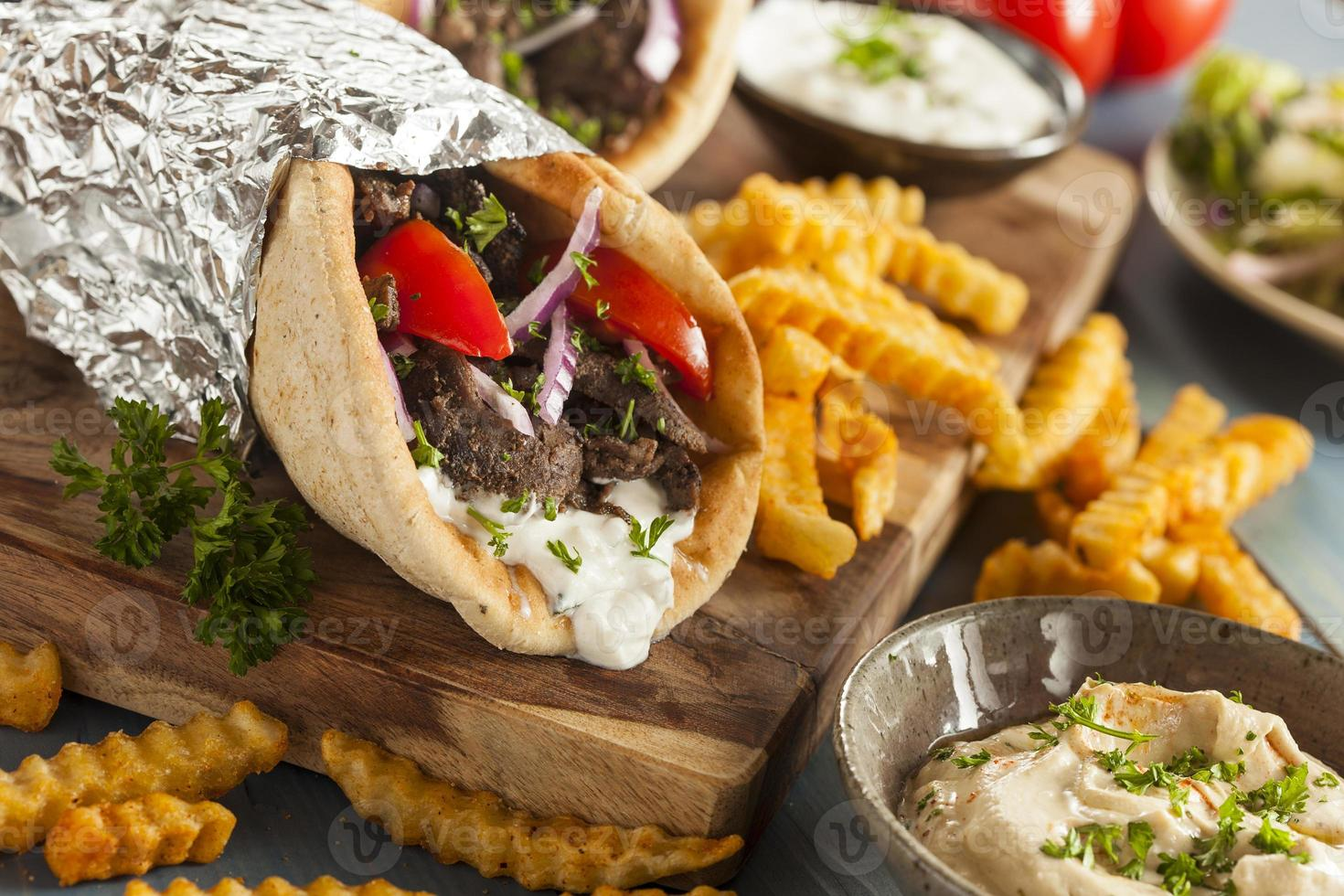 Homemade Meat Gyro with French Fries photo