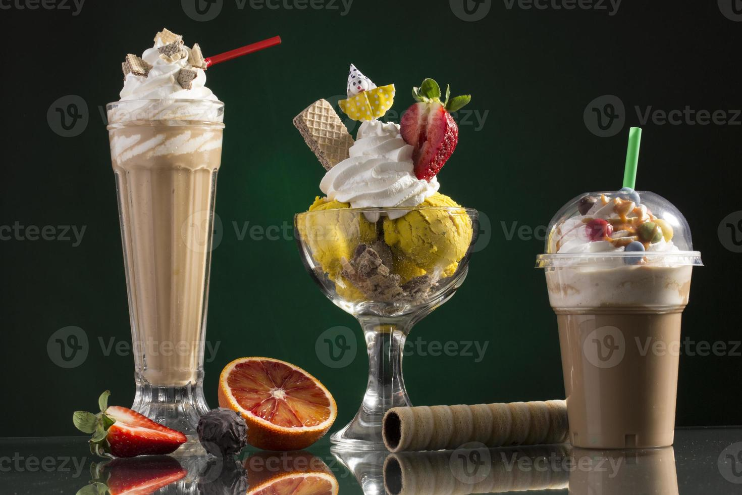 ice coffe and ice coffee take-away, and Neapolitan cup decorated photo