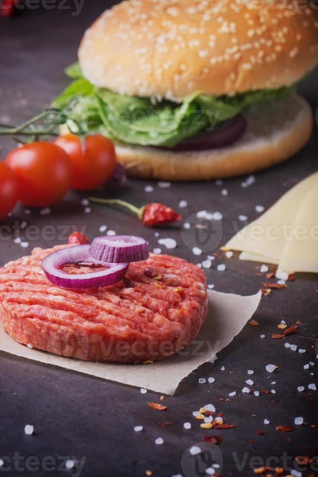 hamburguesa casera de cocina foto