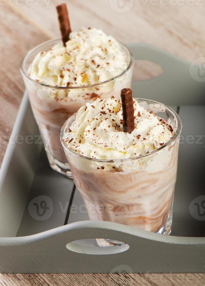 batido de leche con chocolate. foto