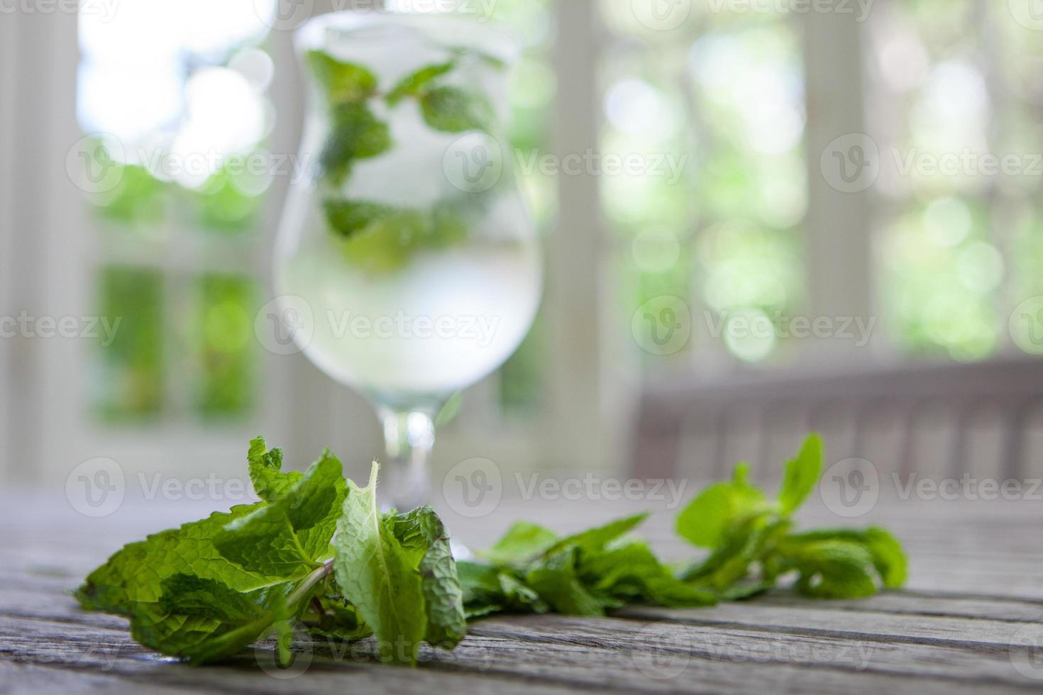 Mint with mojito in the background photo