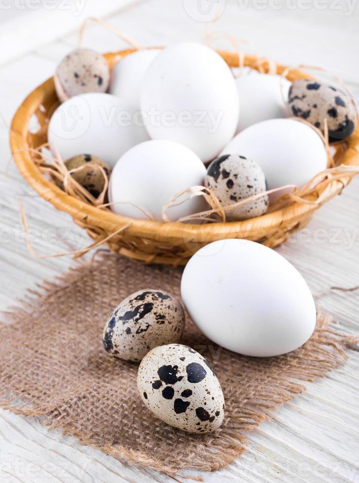 Quail and chicken eggs photo