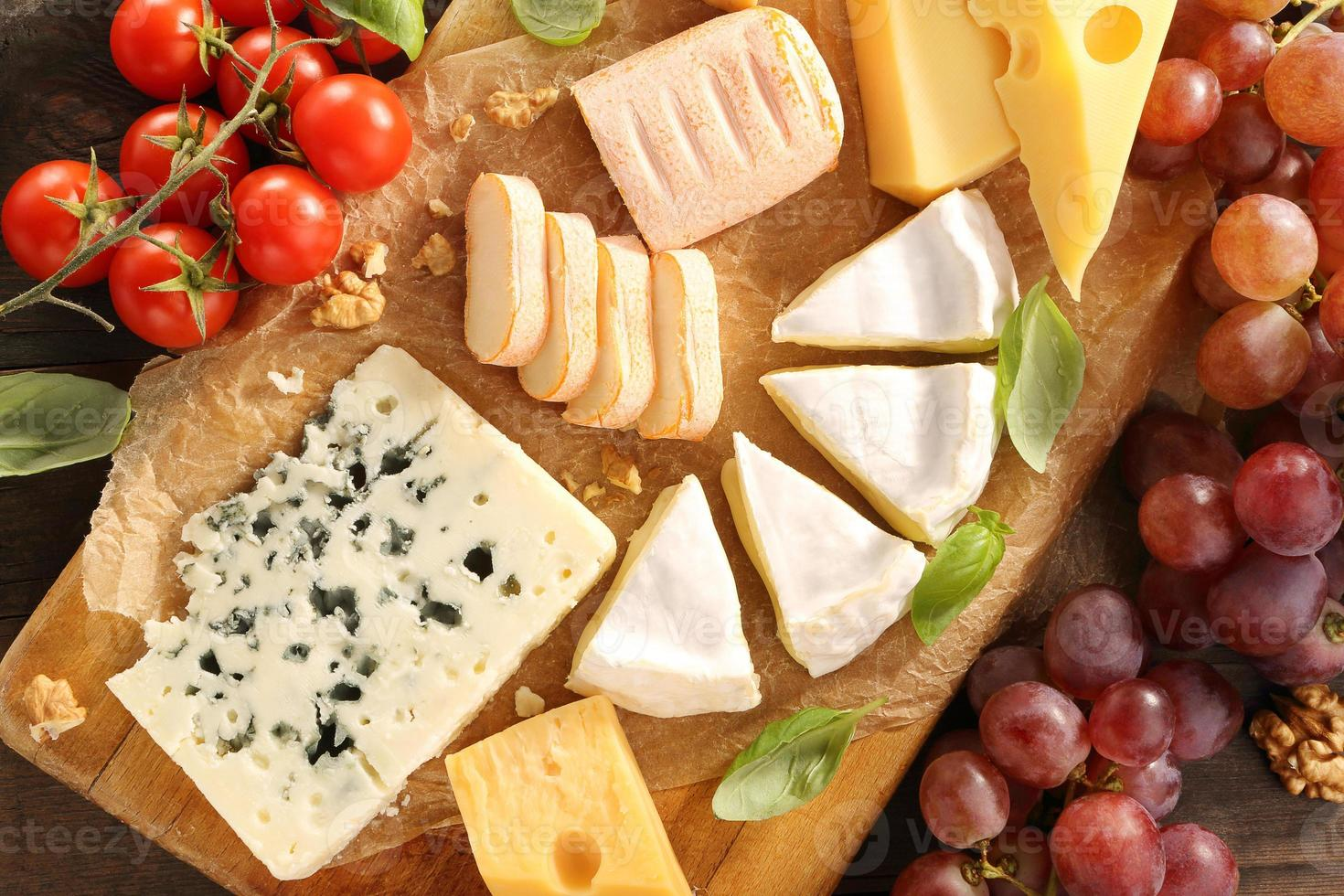 Cheese board various types of cheese composition photo
