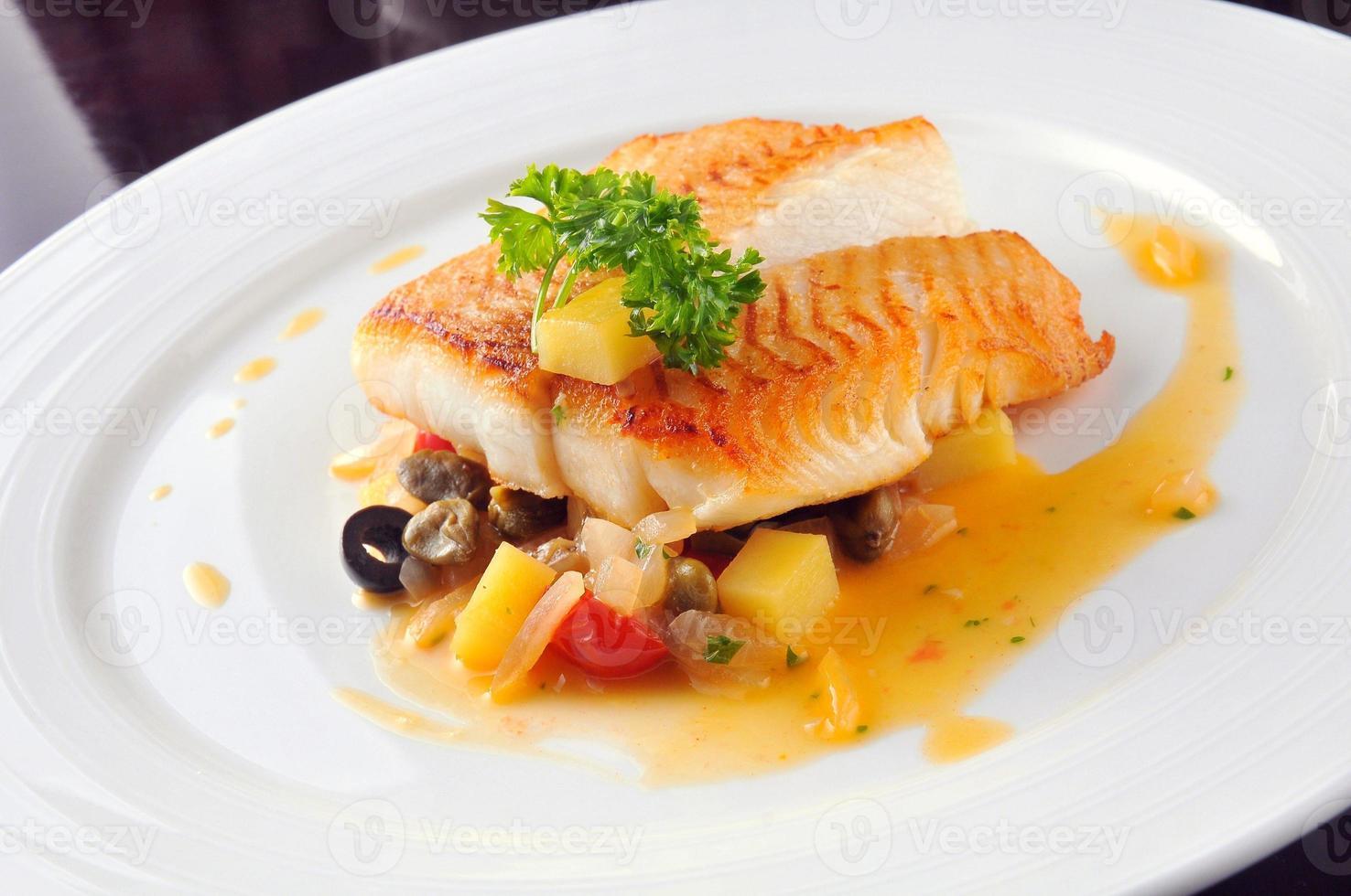 Pan fried cod photo