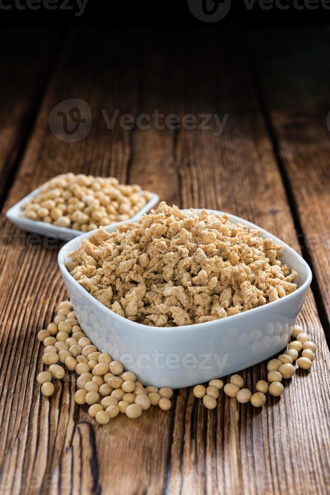 Wooden background with Soy Meat photo