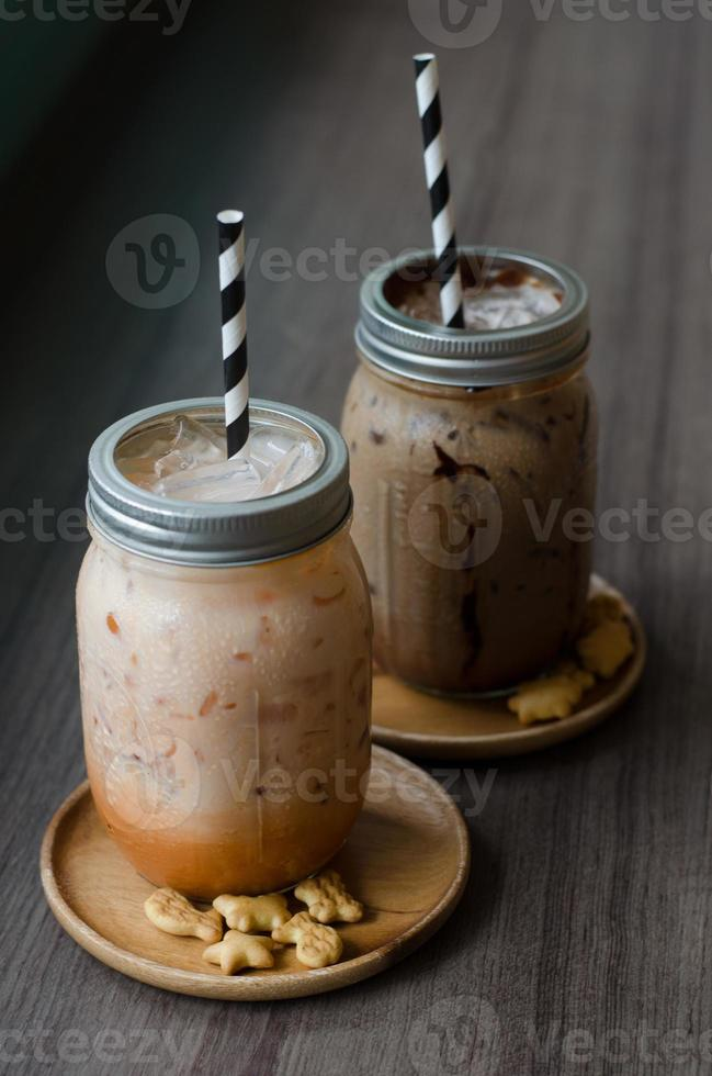 Iced Coffee with dessert photo