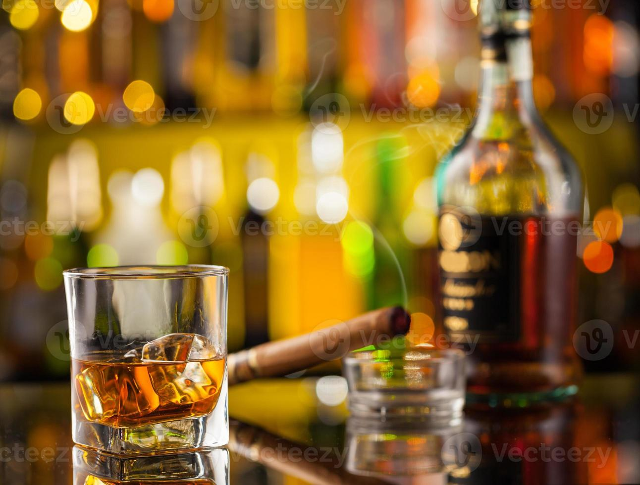 Whiskey drink with car key photo