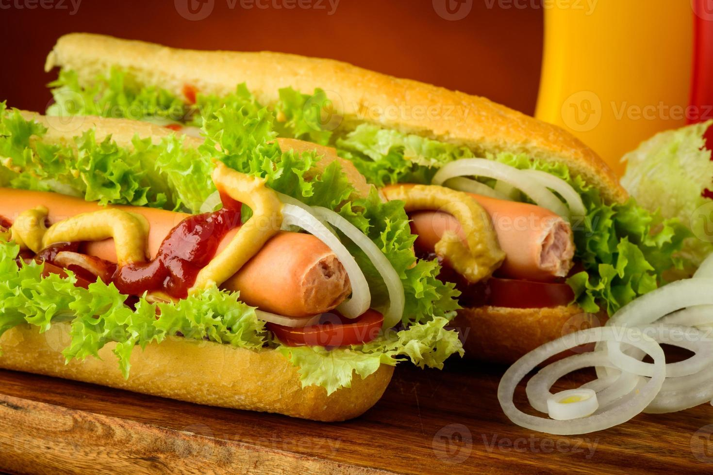 hotdogs with vegetables photo