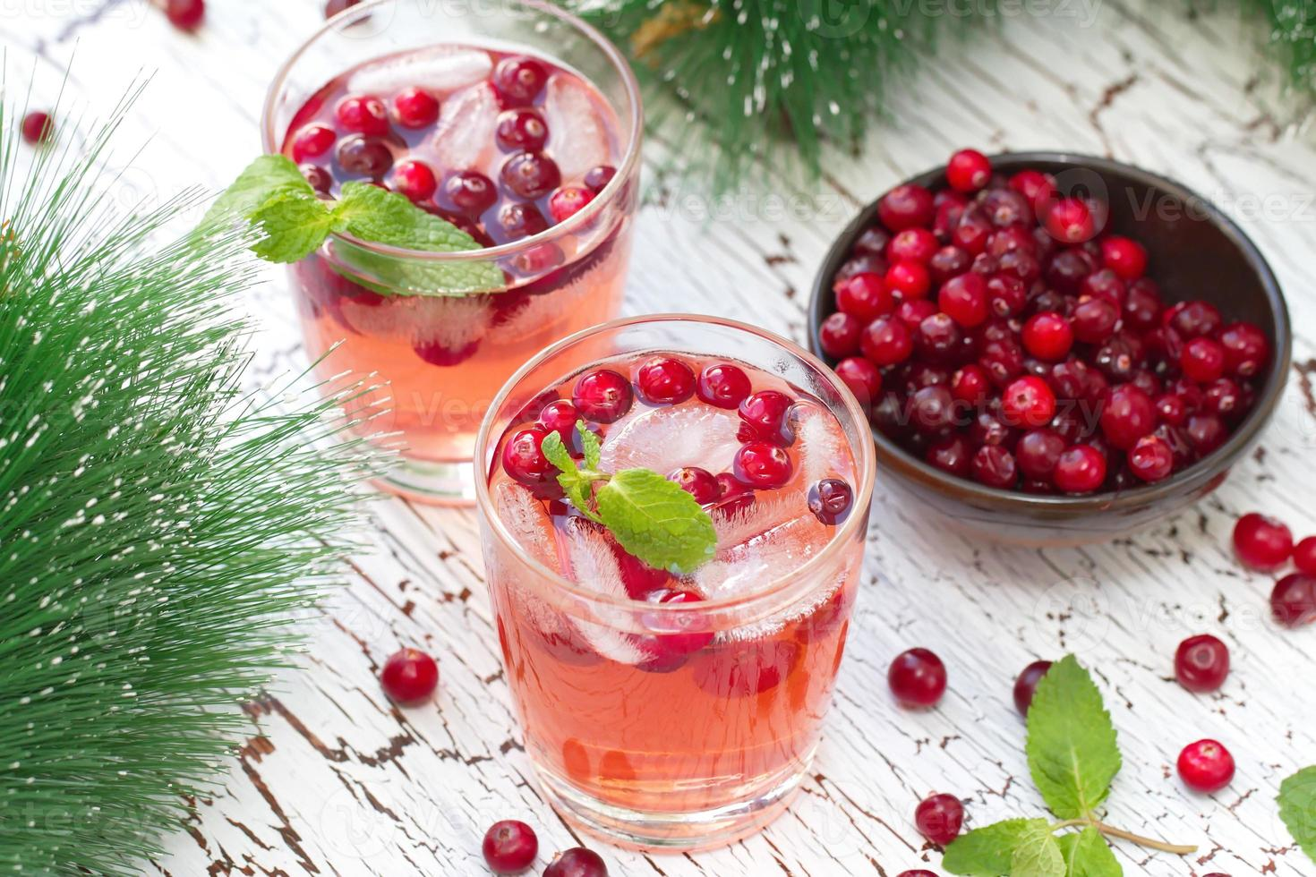 Alcohol cocktail with cranberries, vodka and ice photo