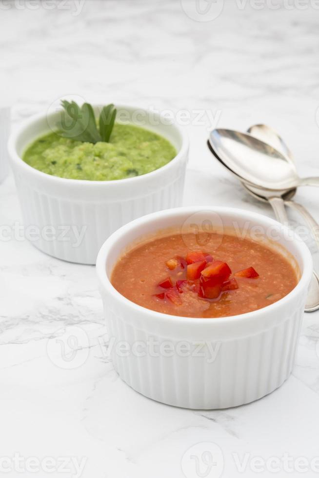 Red and green gazpacho photo