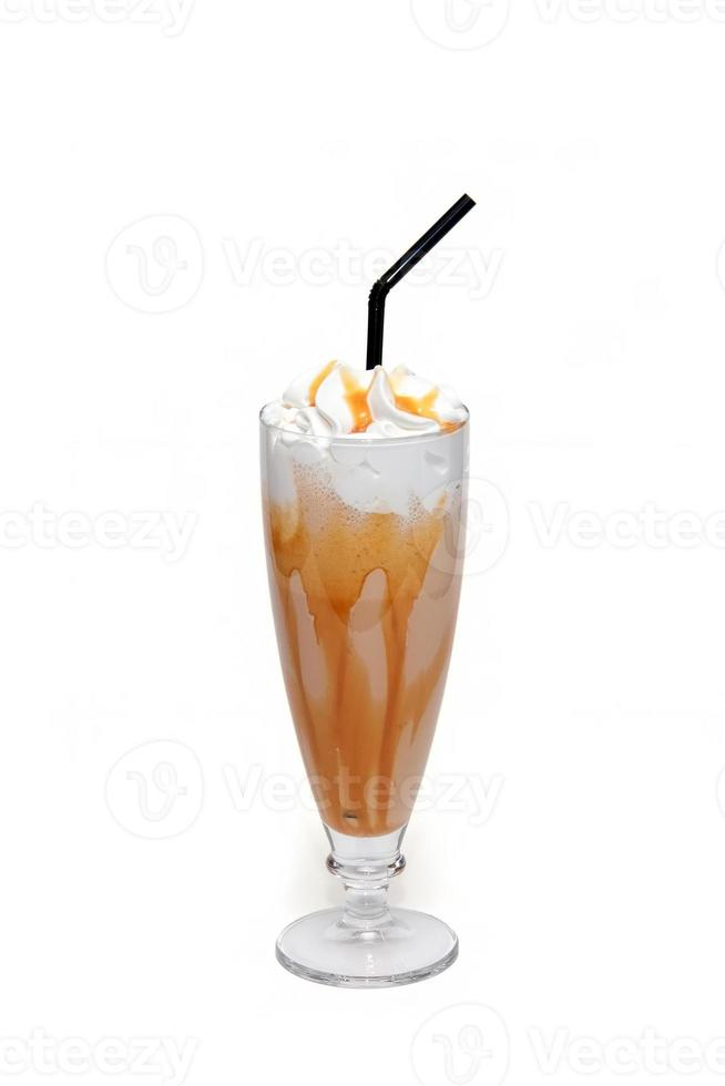 Coffe cocktail with caramel in glass cup photo