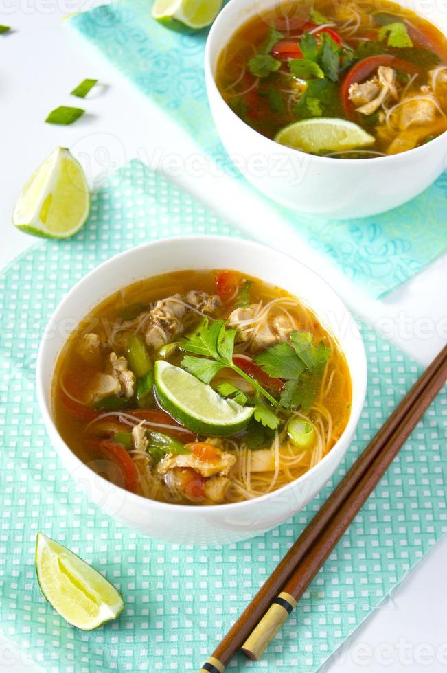 Thai chicken noodle soup photo