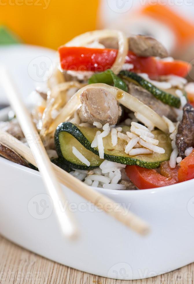 comida dietética (arroz y vegetales) foto