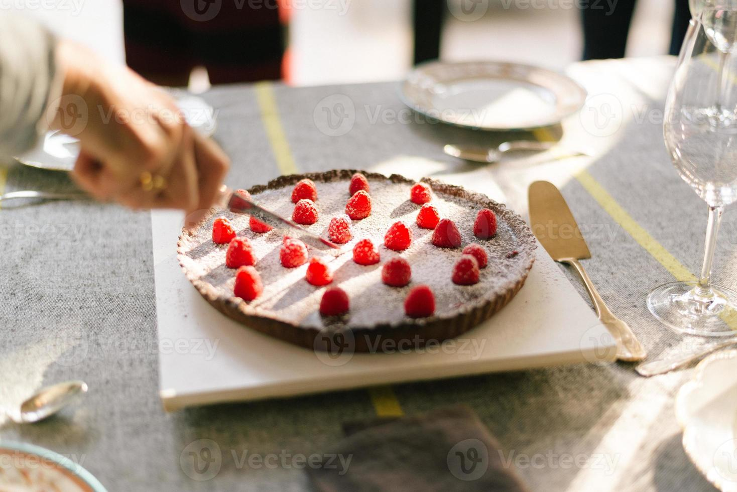 Delicious Chocolate Cake on Christmas party table photo