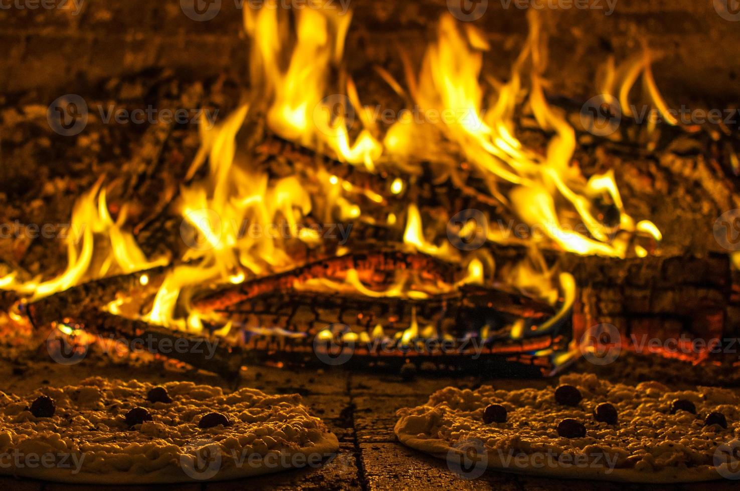 Wood oven pizzas photo