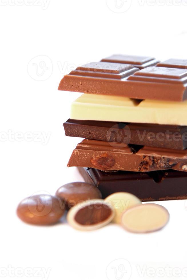 Selección de chocolate en fondo blanco aislado foto