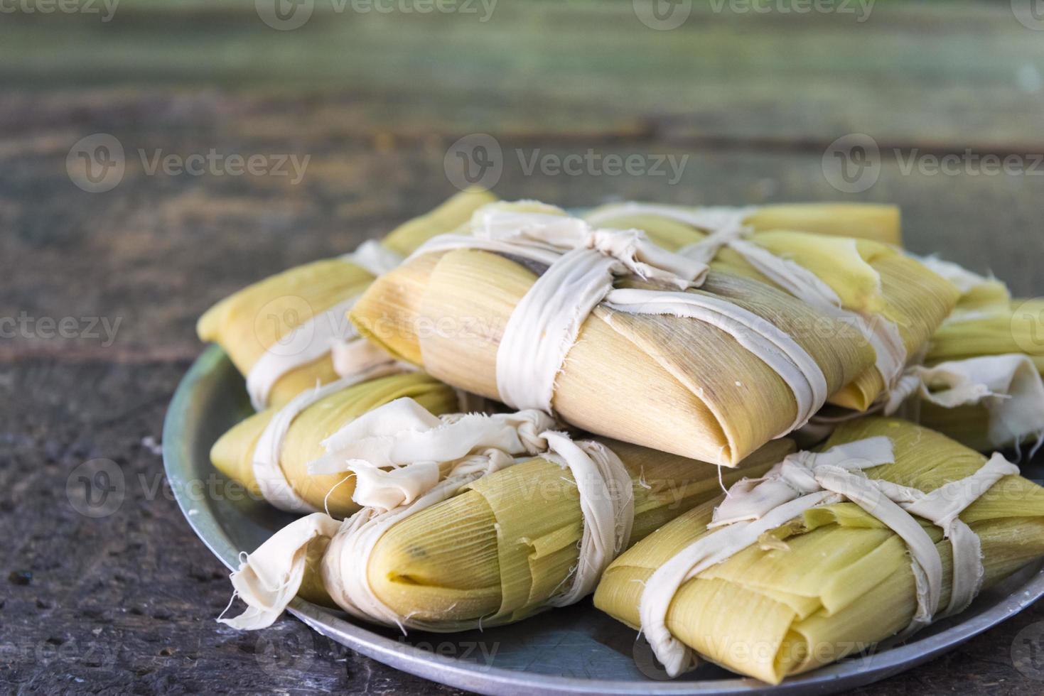 Cuban cuisine: traditional homemade tamales photo