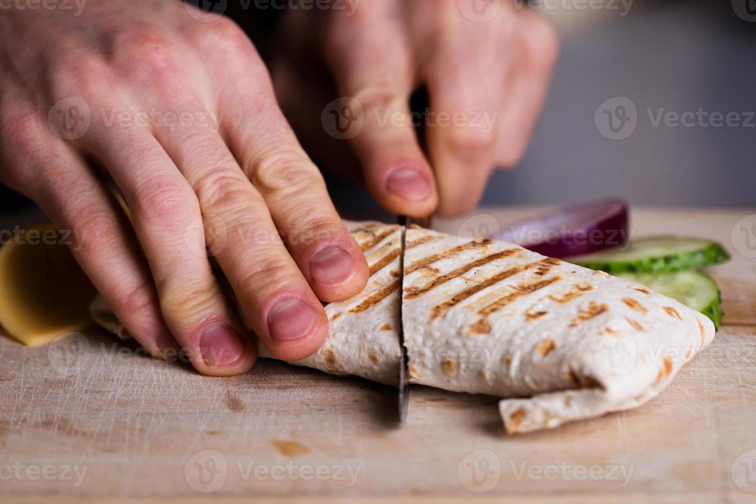 Fresh homemade chicken wrap tortilla photo