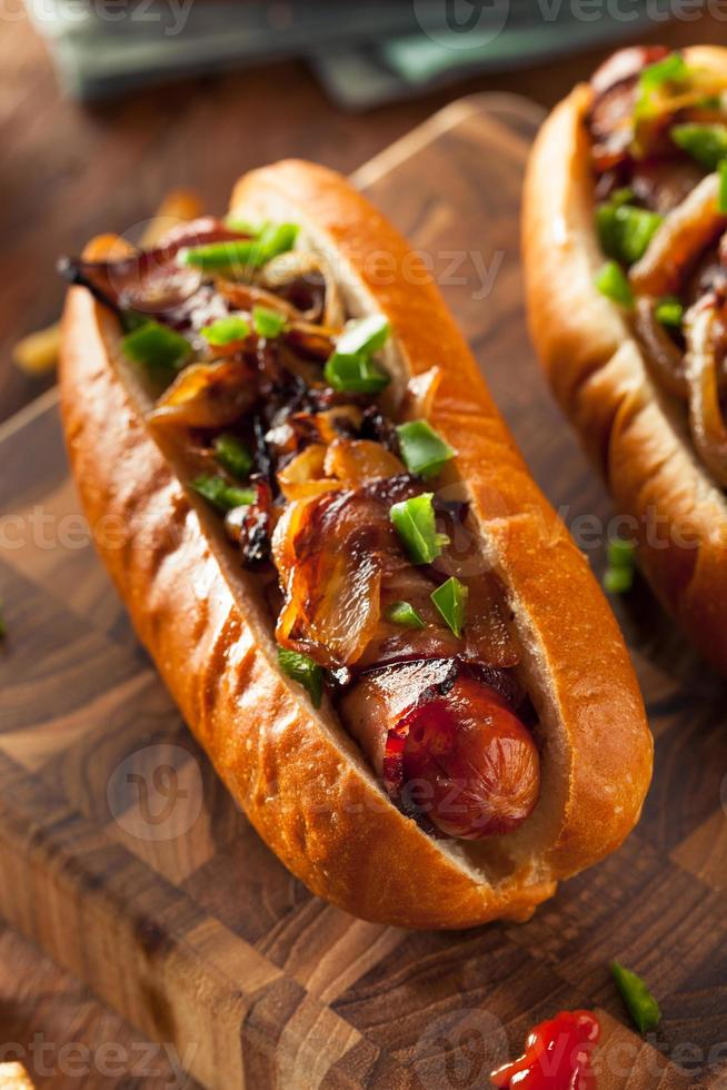 Homemade Bacon Wrapped Hot Dogs photo