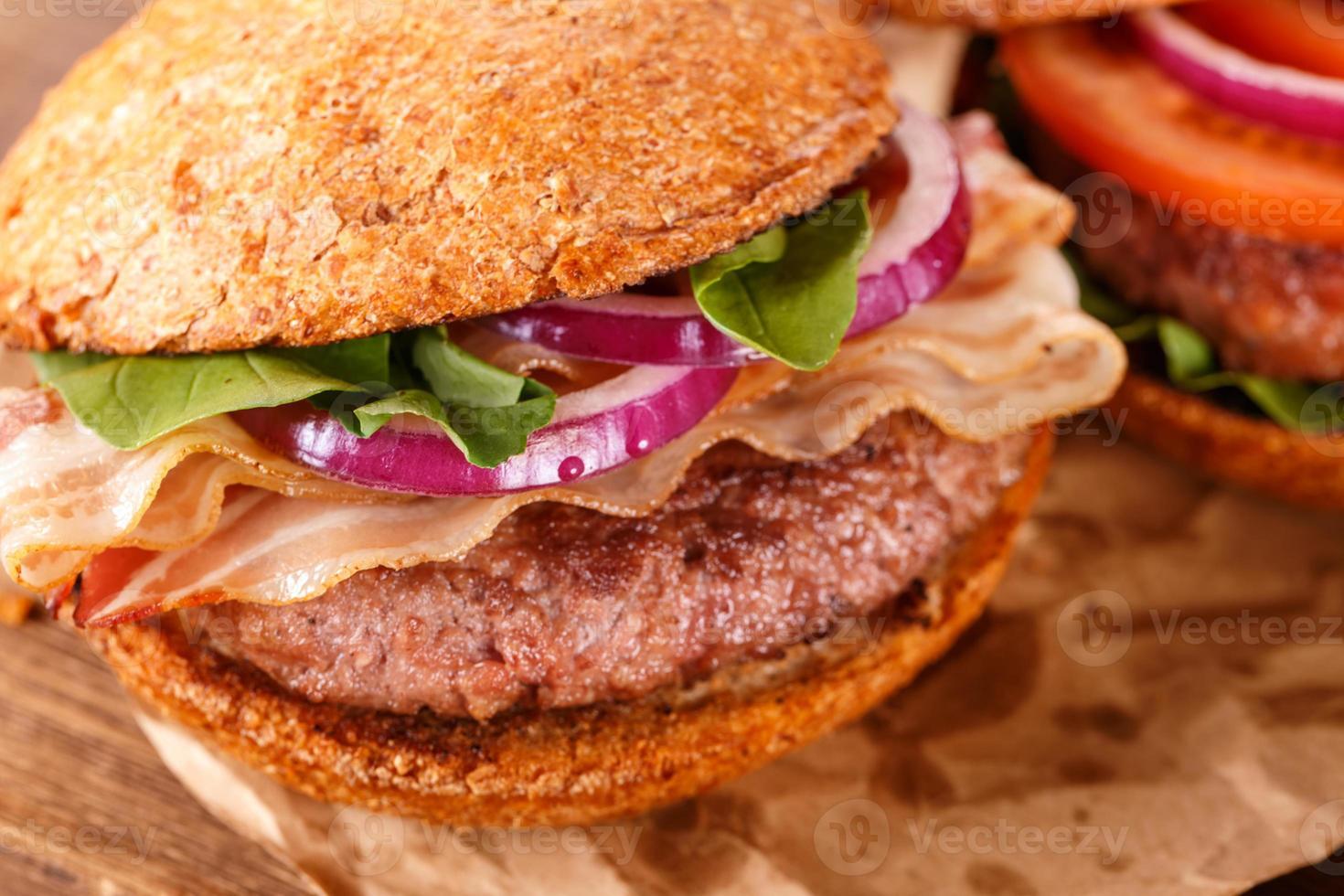 hamburguesa de cerca. vista superior. foto