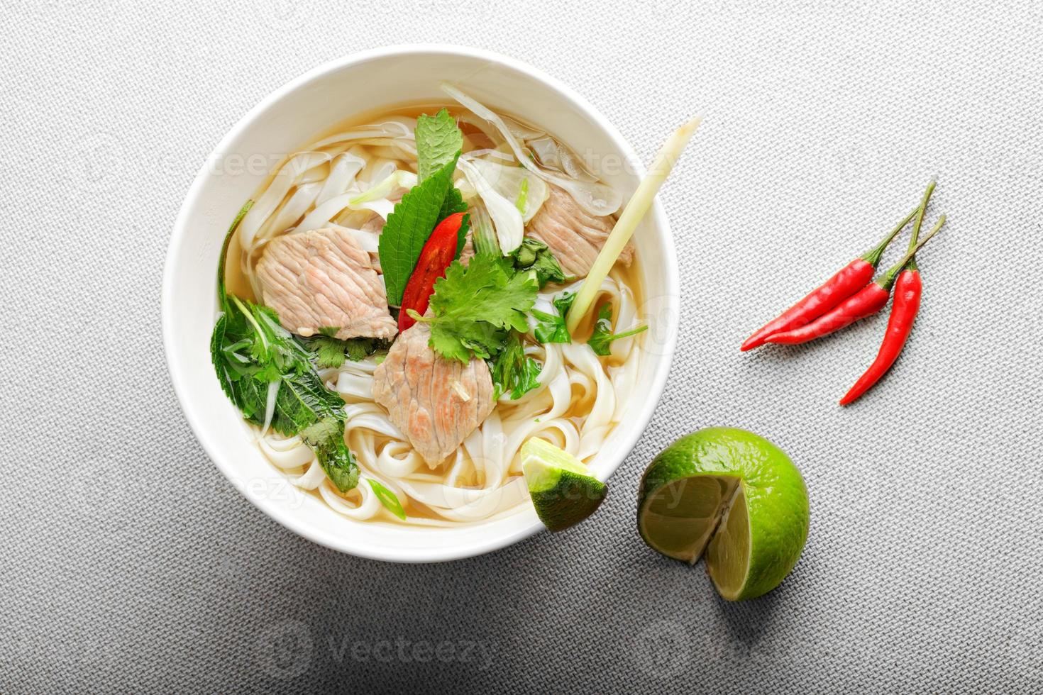 Pho bo soup above view photo