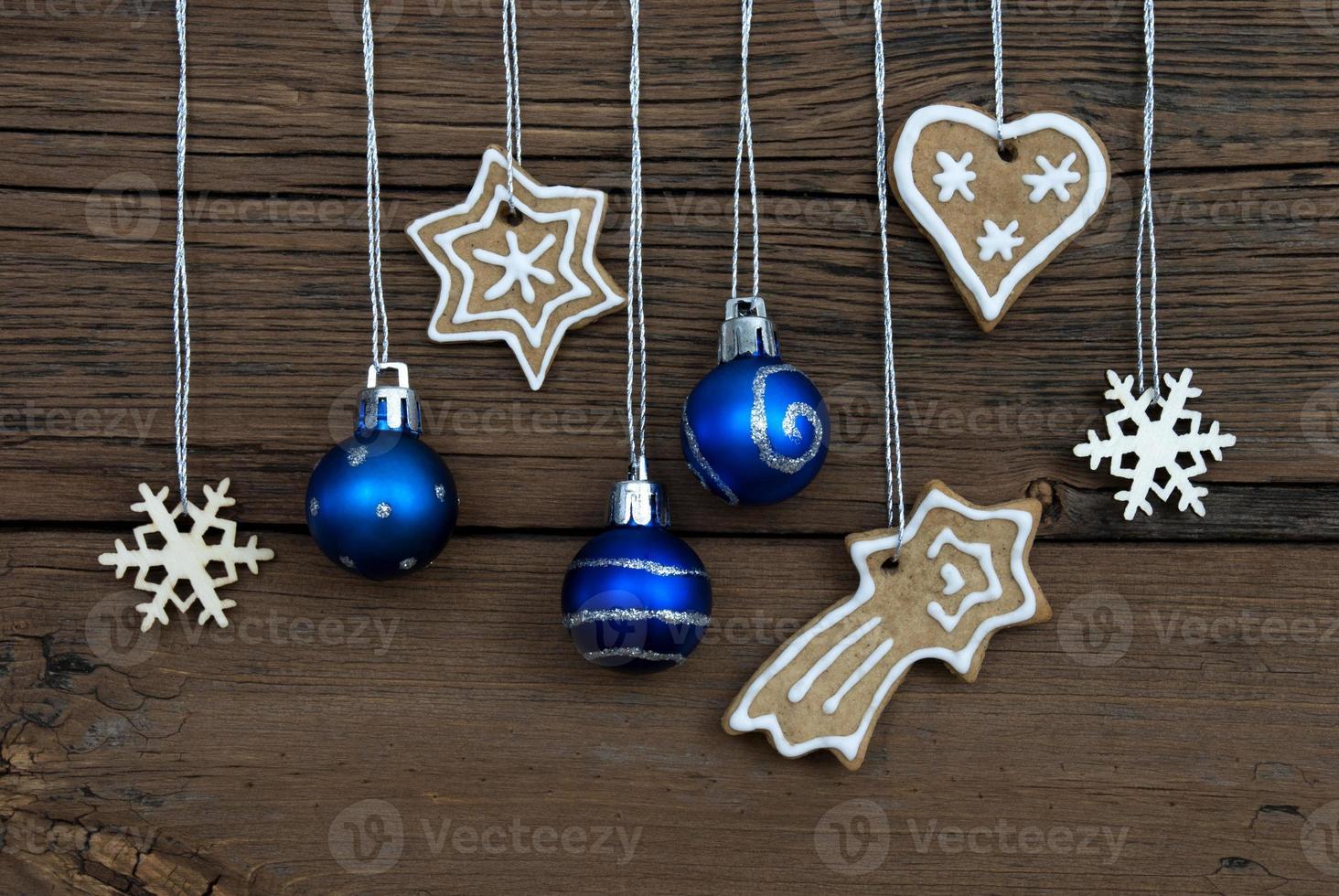 Christmas Decorations on Wood photo