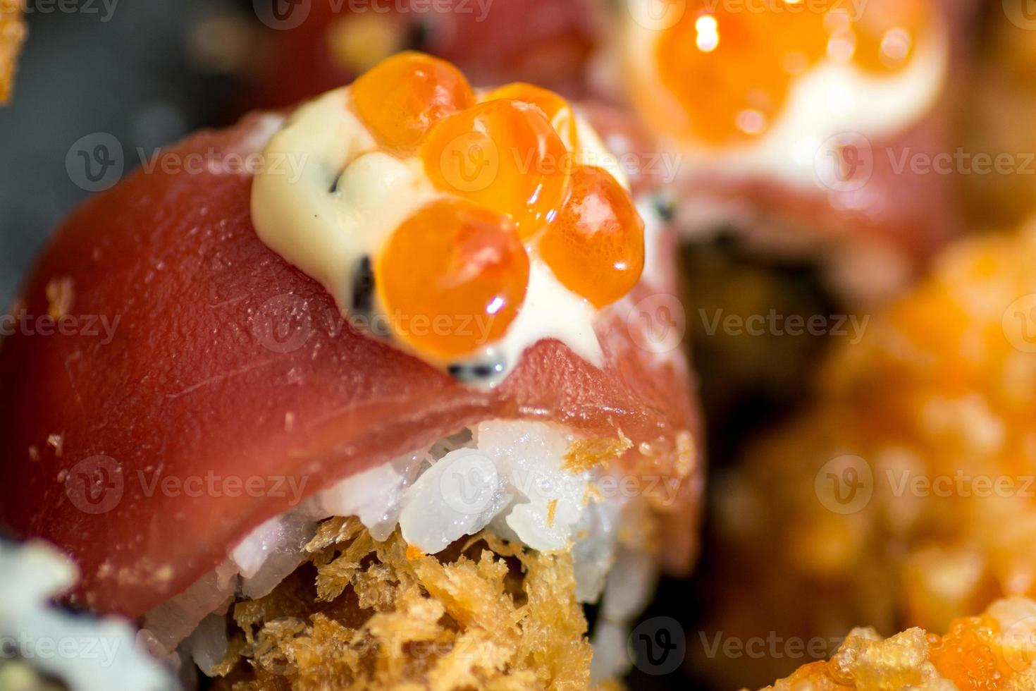 sushi with salmon and red caviar photo