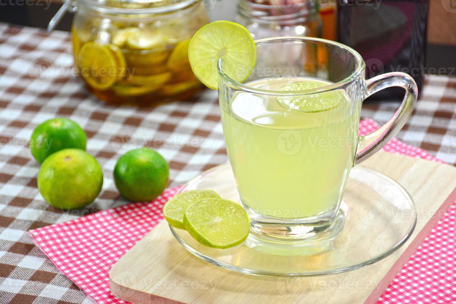 Lemon juice, Lime juice in glass. photo