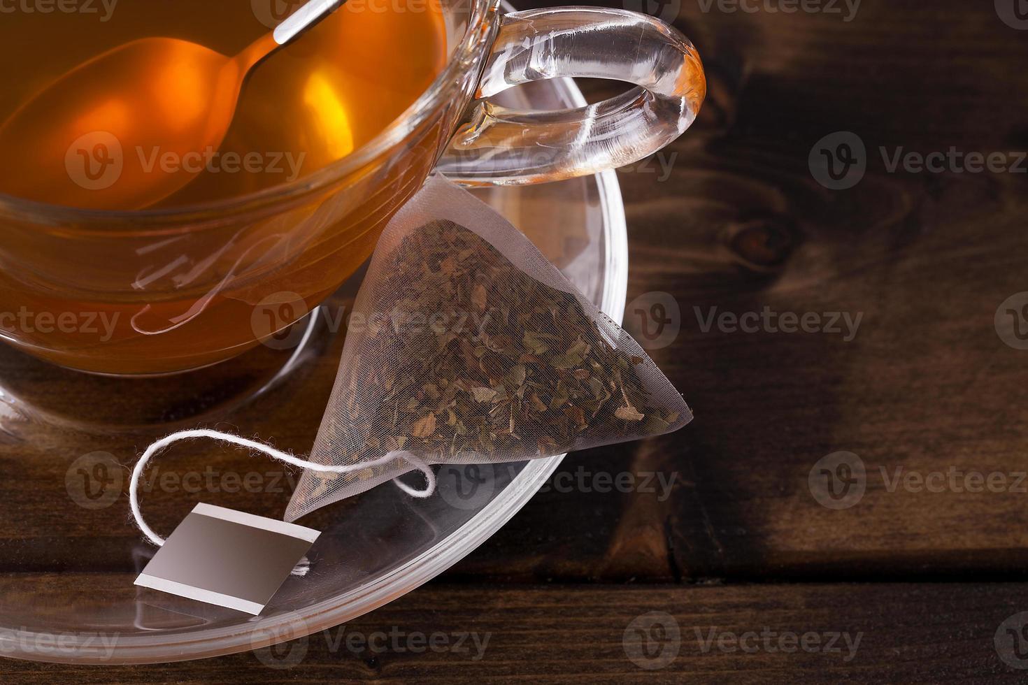 taza de té de vidrio fresco foto
