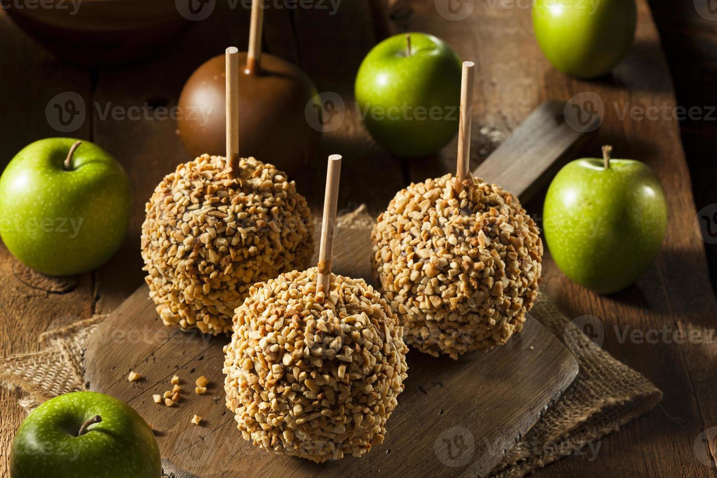 Homemade Taffy Apples with Peanuts photo
