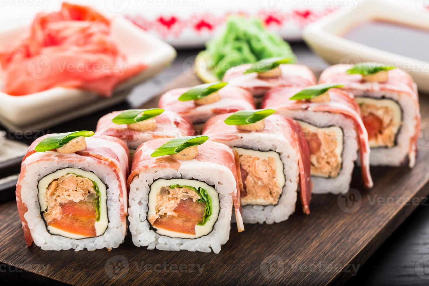 Sushi roll with bacon photo