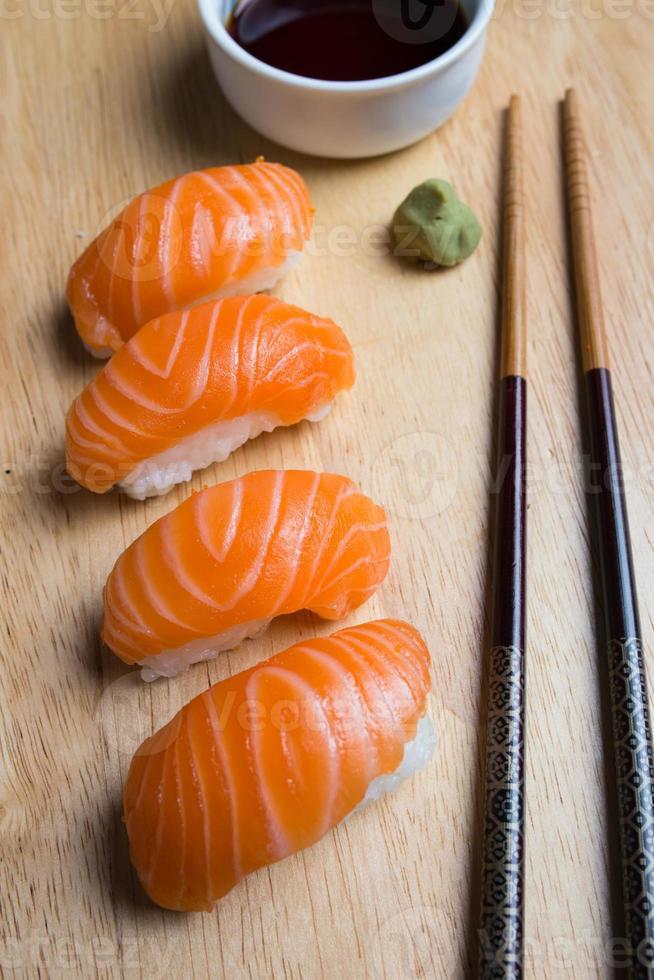 Salmon sushi photo