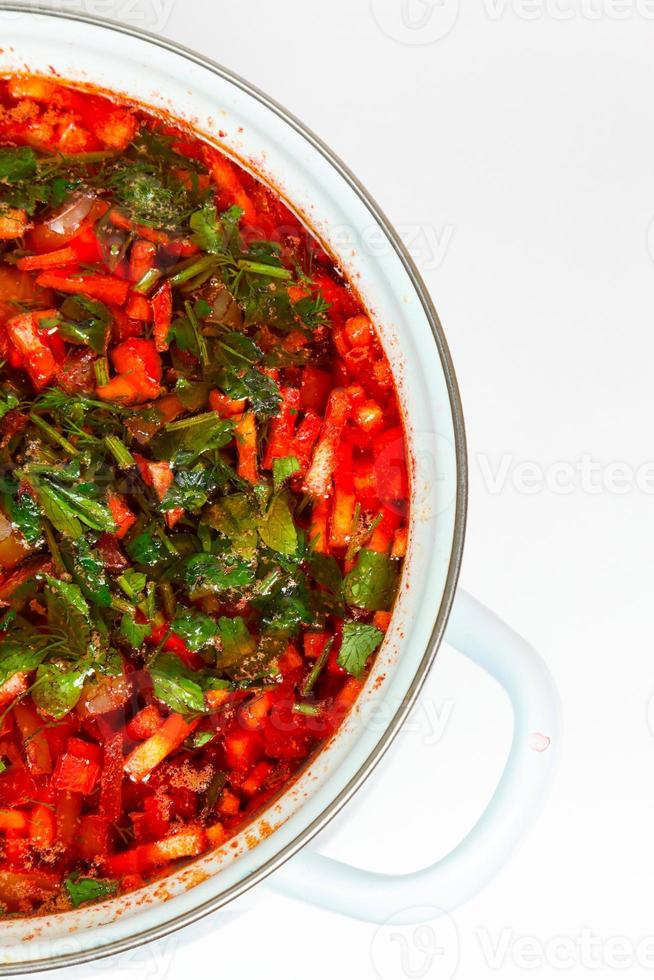 casserole with fresh hot borsch photo