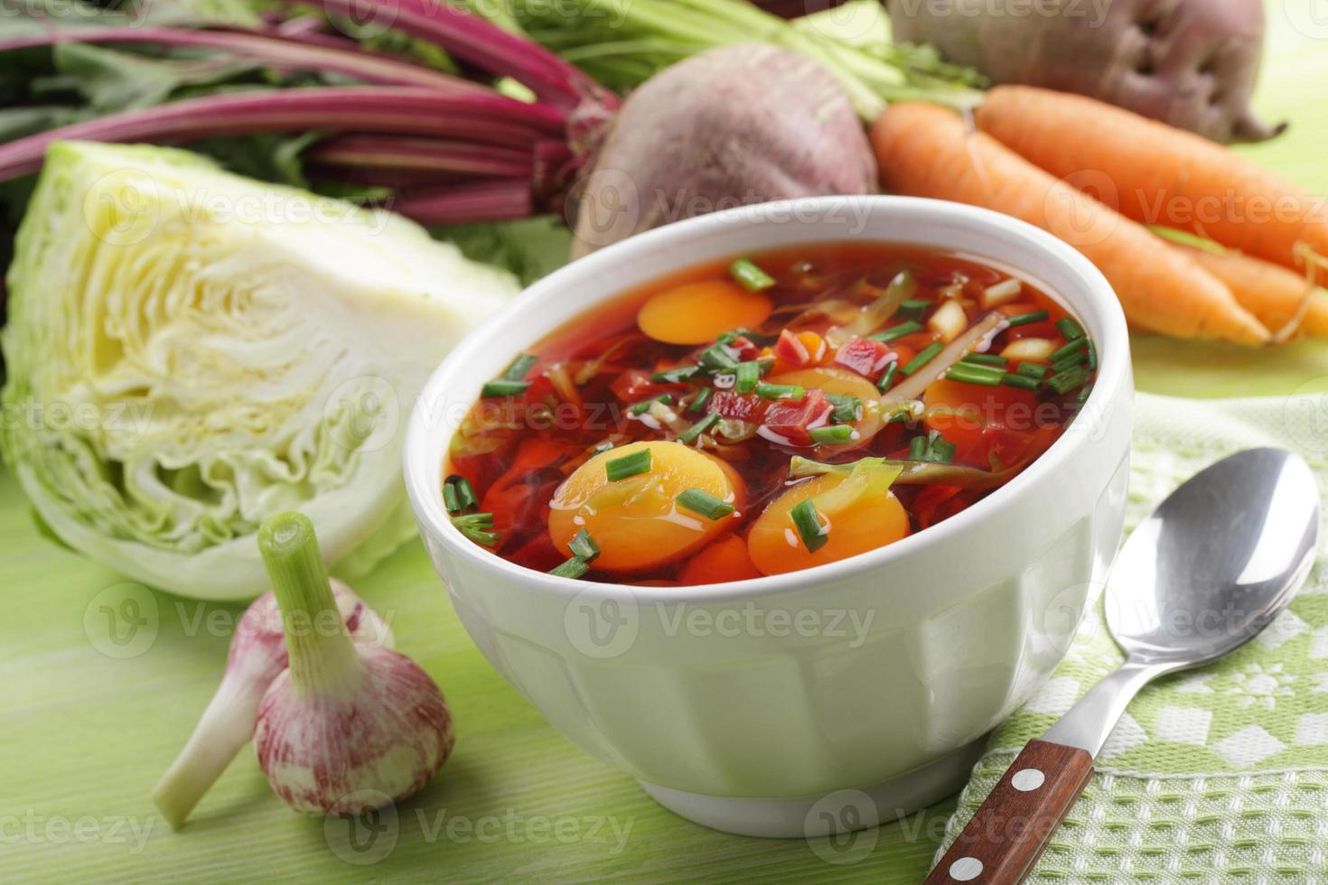 Russian beetroot soup with vegetables photo